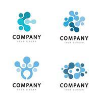 Molecule template logo design vector icon