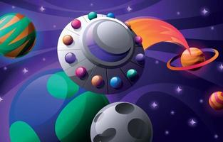 Flying UFO in the Outer Space Concept vector