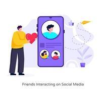 Friends Interacting on Social Media vector