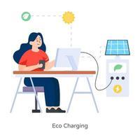 carga solar eco vector