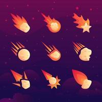 colección de iconos de meteoritos vector