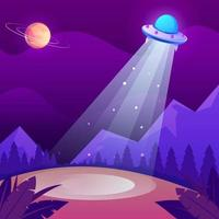 UFO Hovering in the Night Sky Concept vector