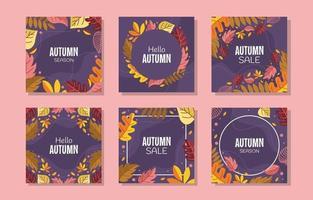 Autumn Season Leaf and Foliage Card Set vector
