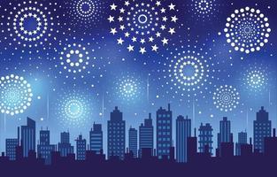Firework Explode City Night Sky Background vector
