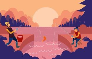 Summer Fishing Activity in Nature Background vector