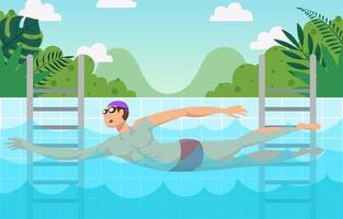 Swimming Activity at Pool in the Summer Background vector