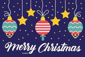 happy merry christmas celebration card with hanging balls vector