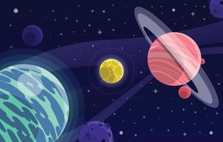 Planets in Space Background vector