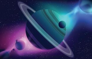 Realistic Planet and Space Scene Background vector