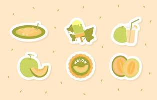 Melon Fruit Sticker vector