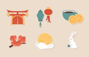 Mid Autumn Festival Sticker vector
