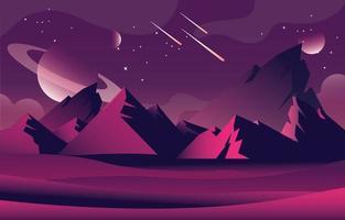 Outer Space Landscape vector