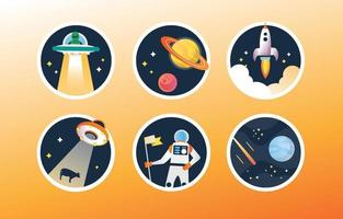 UFO Sticker Collection vector