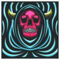 a skull with horn wearing a blue robe. vector illustration. colorful design. t shirt design