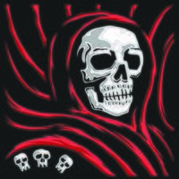 a skull wearing a red robe. vector illustration. t shirt design