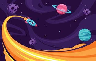 Colorful Rocket Boosting in Space vector