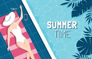 A Woman Sunbathing by the Pool vector