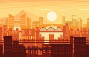 City Landscape Sunset Background vector