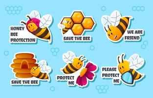 Honey Bee Protection Sticker Collection vector