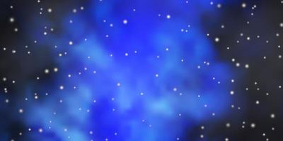 Dark BLUE vector background with small and big stars. Shining colorful illustration with small and big stars. Pattern for wrapping gifts.