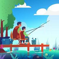 Father and Son Summer Fishing Activity vector