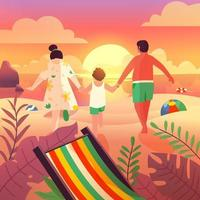 Family Holiday at the Beach on Summer vector