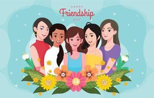feliz dia de la amistad con cinco chicas guapas vector