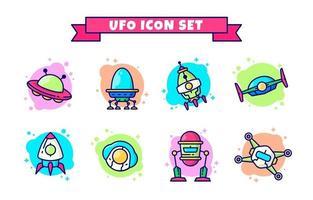 Cute Colorful UFO Icon Set vector