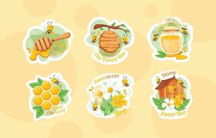 Cute Bee Character with Honey Element Sticker Set vector