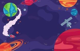 Colourful Cartoon Space Galaxy Background vector