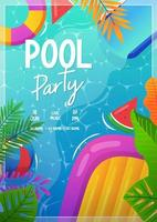 cartel de fiesta en la piscina vector