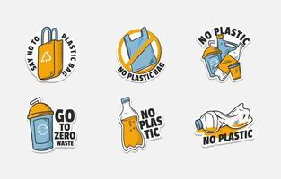 No Plastic Campaign Sticker vector