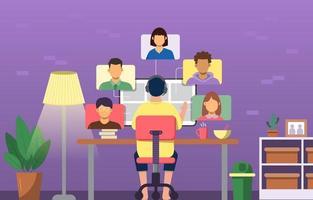 Virtual Meeting at Home Concept vector