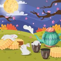 Bunnies Celebrate Mid Autumn Festival vector