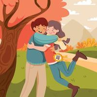 Couple Hug and Celebrating Wife Day vector