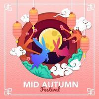 Two Bunnies Celebrating Mid Autumn Festival vector