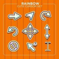 Rainbow Cute Cursor Style Set vector