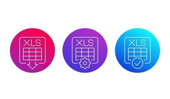 download xls document line icons for web and apps vector