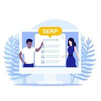SERP and seo optimization, vector illustration with people
