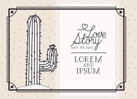 love story card with cactus vector