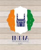 indian mosque chaminar temple with flag in wooden background vector