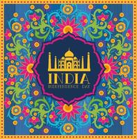 indian taj majal temple with floral background vector