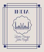 indian jama masjid temple with square frame vector