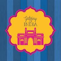 indian gate temple with lace frame vector