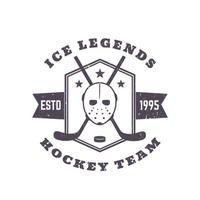 Hockey team vintage emblem, print with mask and crossed sticks vector