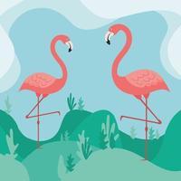 Cute flamingos facing each other vector