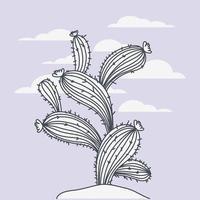 Hand drawn cactus drawing vector