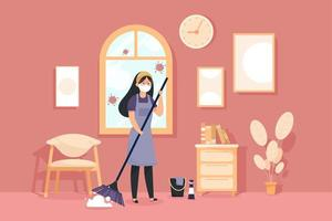 Woman cleaning the room during coronavirus pandemic vector