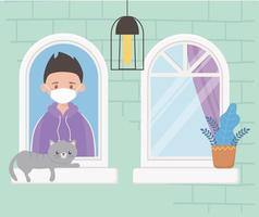 stay at home, facade building, boy with cat in window vector