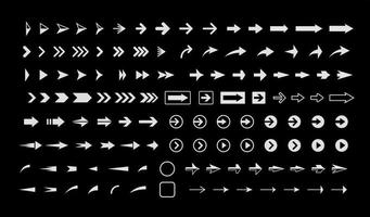 White arrows on black background, vector icons set, interface isolated symbols pack. Next, forward, previous buttons plain signs bundle. Cursors pictograms collection for web.